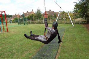 Batman on the zip wire
